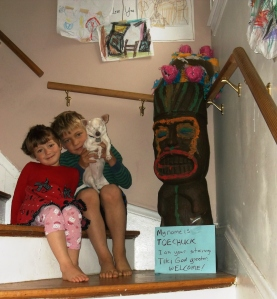 Amelia with her brother Liam and Suzie the Chihuahua