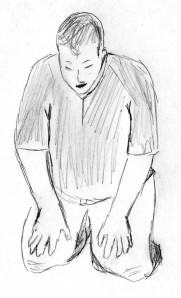 kneeling prayer sketch croped