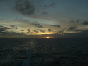Sunset in the South Pacific April 23, 2015 (Ruth Jewell)