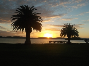 Sunset at the Bay of Islands, New Zealand April 2, 2015, by Ruth Jewell